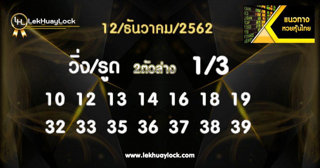หวยหุ้นไทย ประจำวันที่ 12/12/62 Thai stock market lottery on 12/12/62