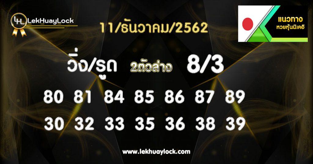 หวยหุ้นนิเคอิ ประจำวันที่ 11/12/62 nikkei-stock-lottery,-11-12-62