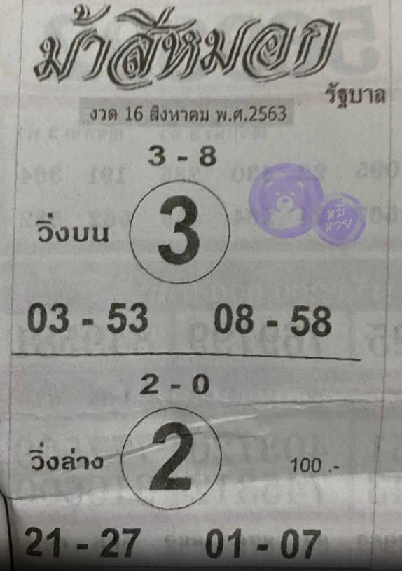 Horse Song Si Mok Lottery 16-8-63