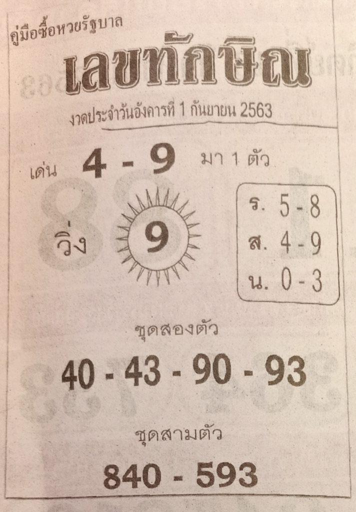 Lottery numbers Thaksin 1-9-63