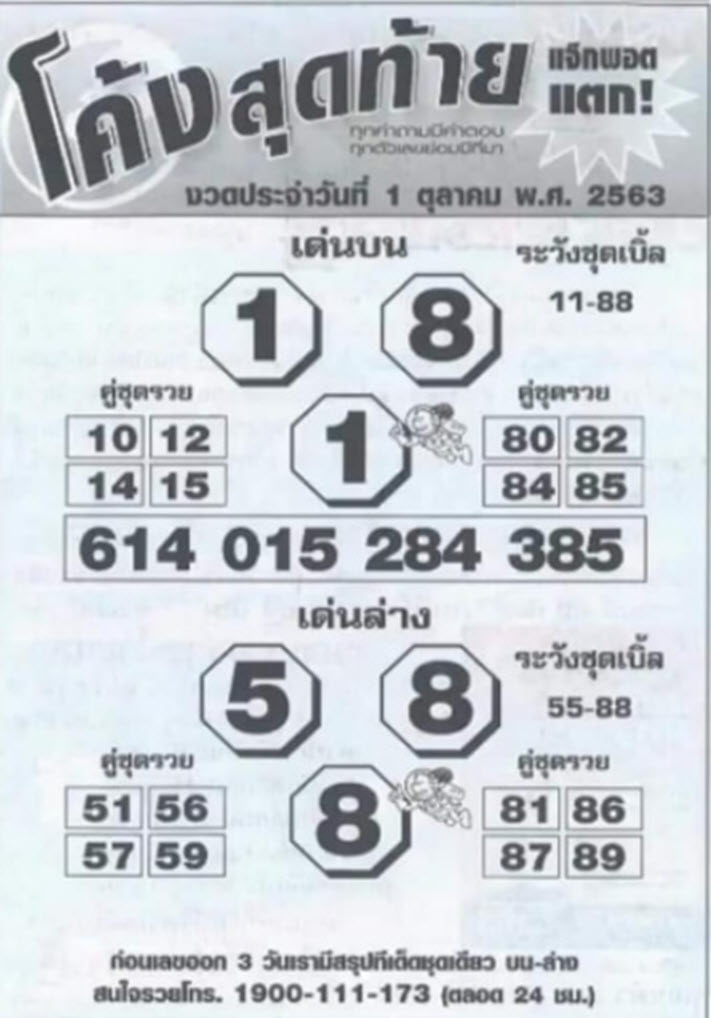 The last lottery curve 1-10-63