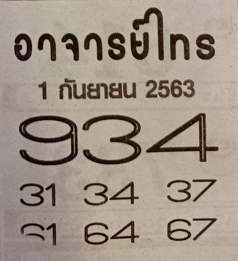 Lottery Ajarn Sai 1-9-63
